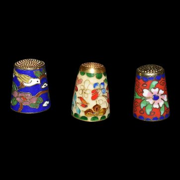 Cloisonné Thimble Collection of 3 Vintage c1940's