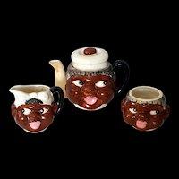 Rare Black Americana Head Teapot, Sugar and Creamer set 1940's