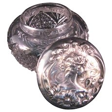 "Art Nouveau ""Love me, Love me not"" Large Powder Dresser Jar Repousse Sterling Silver EAPG Glass"