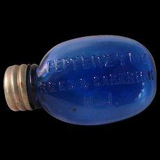 Cobalt Blue Glass Oval pocket Medicine Bottle - Peptenzyme Reed and Carnrick, NJ circa 1890