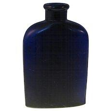 """Bourjois Cobalt Blue Glass Perfume Bottle 2"""" Embossed - 1930-1940's"""
