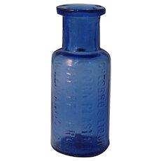 "Rare Chesbro's liquid Corn Plaster Sample Size 2"" Cobalt Blue Bottle circa 1900's"