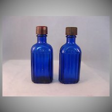 Hazel Atlas Cobalt Blue Medicine Bottle with Glass wands set of 2 - Circa 1950's