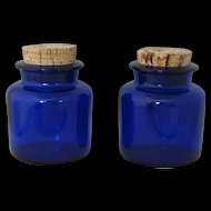 Cobalt Blue Apothecary Glass Bottle with cork stoppers set of 2 - circa 1960's