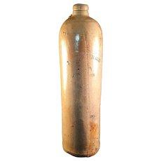 Tall Stoneware Salt glazed Kiderlen's Freebooter Gin Bottle with Handle 1800's