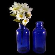 "2 Large 8 1/2"" tall Cobalt Blue Glass Medicine Bottle Marked Moser - 1970's - Mid Century Modern"