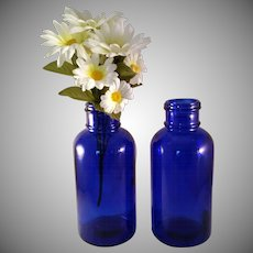 "2 Large 8 1/2"" tall Cobalt Blue Glass Medicine Bottle Marked Moser - 1970's - Mid Century Modern"