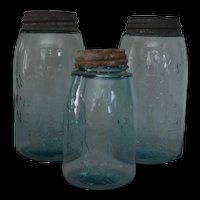 Mason's Aqua Canning Jars set of 3 – Mason's Patent Nov. 30th 1858 – c. late 1800's