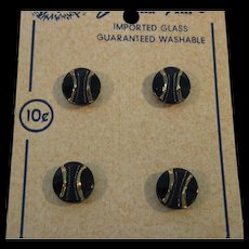 8  Glass Buttons Navy and Gold made in Western Germany on Cards Button