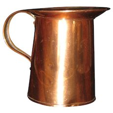 "Small Kreamer Copper Pitcher  4 1/2"" h"