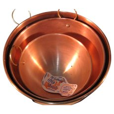Vintage Copper and Brass Mixing Bowl Set of 2 - Old Dutch made in Portugal