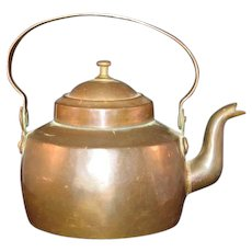 English Gooseneck Copper and Brass dovetail Teapot with Tin lined 19th Century