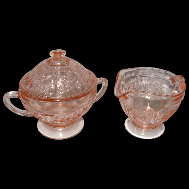 1930's Sharon Cabbage Rose Footed Cream & Sugar Set Pink Depression Glass