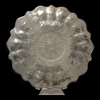 Serving Dish Sterling Silver Commemorating the Third Panel of the Sheriff's Jury of New York Frosted glass Floral