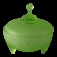 Art Deco Green Frosted  Vanity Glass 3 footed powder dish with Ladies Bust on Top of Lid 1930's - Uranium Glass