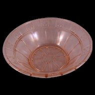 """Doric Pink Depression Glass Berry Bowl 8 1/4"""" by Jeanette Glass Co.  1935-1938"""
