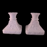 """2 Westmoreland White Milk Hobnail Grape Glass Candle Stick Holders 4"""" Tall Sq. Base"""