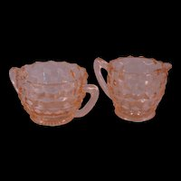 Pink Cube Pattern Sugar Cube Bowl and Creamer - Jeannette Depression Glass