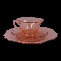 Elegant and Fancy Pink Cambridge Glass  Tea Cup, Saucer and plate set in the 3400 Pattern Unetched made 1930-1950