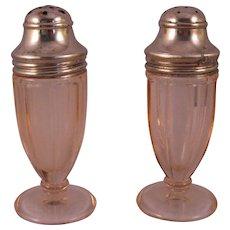 Pink Paneled Depression Glass Hazel Atlas Salt & Pepper Shaker Set