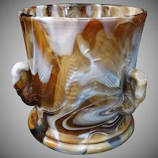 Rare Amber and White Milk Slag Glass Swan and Cattails Glass Spooner by Westmoreland c1920