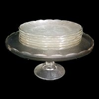 Vintage Harp Cake Stand w 6 Desert plates Jeannette Glass Company 1954-1957