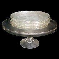 Vintage Harp Cake Stand w 6 Desert plates Jeannette Glass Company 1954-1957