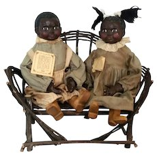 "Folk Art Black Americana 20"" Doll Couple Arnett's Country Store sculpted by Carol Manning c1980"