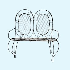 Primitive Hand made Chicken Wire Large Doll Patio loveseat Chair c1950's