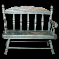 Vintage Doll Colonial Green Deacon bench