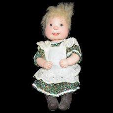 "Dianne Dengel 9"" Sitting Country Girl hard Doll Signed"