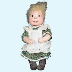 "Dianne Dengel 9"" Sitting Country Girl hard Doll Signed"