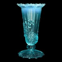 Antique Northwood Blue Opalescent Fluted Scrolls Flora Vine Footed Vase c1905