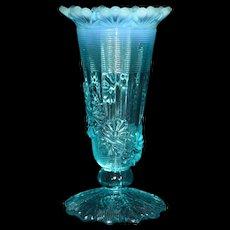 Antique Northwood Blue Opalescent Fluted Scrolls Flora Vine Footed Vase c1905