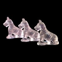 3 Vintage Miniature Pressed Clear Glass Scottie Dog Dogs