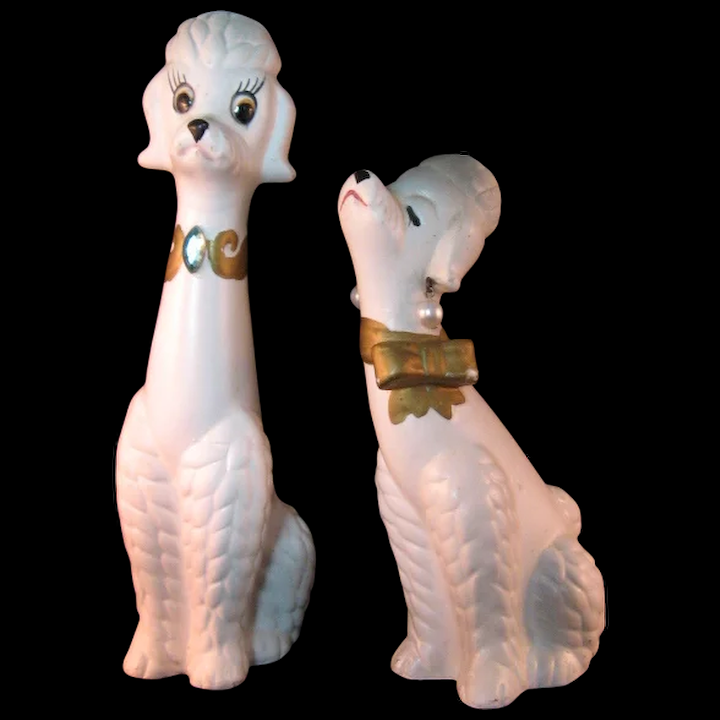 Vintage Mr And Mrs White Poodle Dog Figurines By National Potteries The 7 Hills Collector Ruby Lane