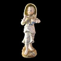 "Lovely 11"" Victorian Style Farm Girl Figurine Hand painted Porcelain Bisque with Gold Accents Marked"