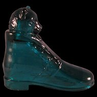 Vintage Aqua Glass Candy Container Puss in Boots Cat