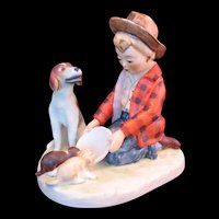 Goebel Norman Rockwell Figurine Boy feeding Puppies and Mama Dog - 1960's