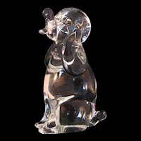 Dog Art Glass Paperweight Sculpture Signed by Licio Zanetti of Murano, Italy