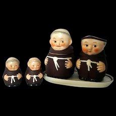 Vintage Goebel Ceramic Friar Tuck Monk Figural Sugar Bowl & Creamer, tray and S&P Set