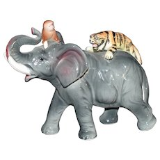Elephant with a Tiger and Monkey Hand painted Ceramic Figurine Japan c1950