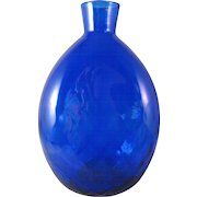 Vintage Pairpoint Cobalt Blue 34% Lead Crystal Round Diamond Quilted Glass Vase Flask Signed