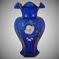 Fenton Golden Flax on Cobalt Blue Hexagon Vase Decorated Transparent - KG 1993 #2953