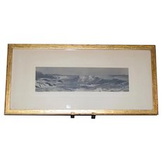 Ocean Surf by Fred Thompson Hand-tinted Photograph c1910 framed