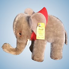 Steiff Elephant with Saddle c1970 Button and Tag 0500/10