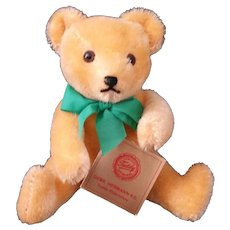 "Orange Mohair 7"" Jointed Hermann Teddy Original – Green Tag"