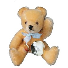 "Orange Mohair 5"" Jointed Hermann Teddy Original – Brown Tag  c1985"