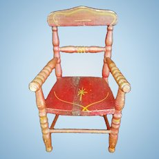 Doll Furniture Primitive folk art barn red wood doll chair with turned spindles