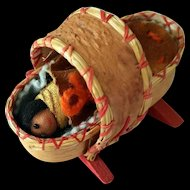 Miniature Doll American Indian Bark Cradle with Baby 1970's